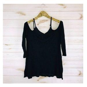 NWT Kensie Cold-Shoulder Black Long Sleeve Shirt